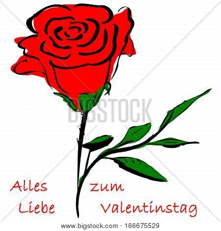 Rose and german text for Happy Valentine`s Day