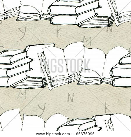 Seamless doodle pattern with rows of books and letters. Library hand drawn sketchy background. Reading and education concept.