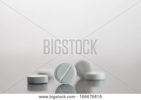 White Pills On The Mirror Surface