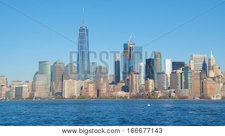 Skyscrapers and Towers on Lower Manhattan in New York City