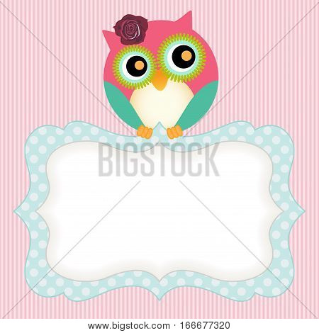 Scalable vectorial image representing a background with cute owl and label.