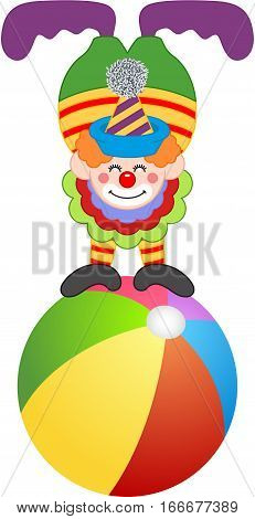 Scalable vectorial image representing a clown on top of circus ball, isolated on white.