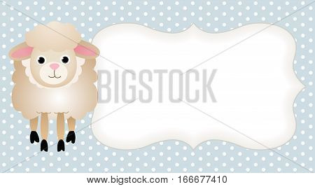 Scalable vectorial image representing a sheep in light blue label, isolated on white.