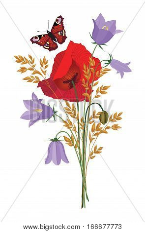 Flowers Isolated. Floral Summer Bouquet. Meadow Nature Decor With Bluebell, Poppy And Butterfly