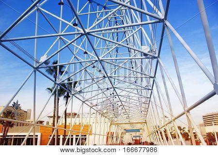 Pedestrian bridge over Shoreline Drive Long Beach. California