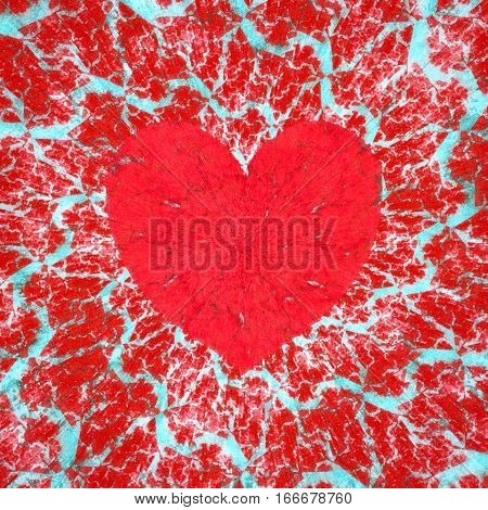 Frosty heart, love and Valentine's day raster illustration. Digitally generated red heart symbol on a frosty spiral background with unusual fractal texture.