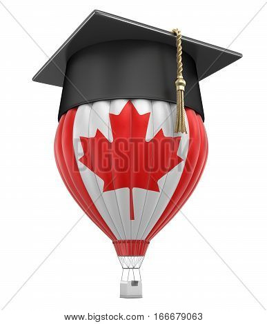 3D Illustration. Hot Air Balloon with Canadian Flag and Graduation cap. Image with clipping path