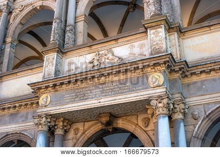 Detail of the front fhoda in the town hall. Cologne. Germany. At the Town Hall Square are all great celebrations and Cologne event. And the balls and receptions are held in the Town Hall building.