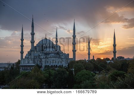 Amazing view on Sultan Ahmet Mosque during the sunset
