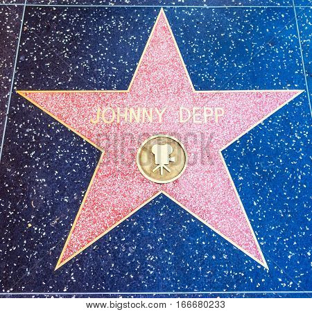 LOS ANGELES CALIFORNIA - NOVEMBER 2 2016: Johnny Depp star in Hollywood walk of fame