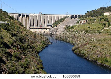 Dam on the river Tajo at Alcantara Caceres province Extremadura Spain