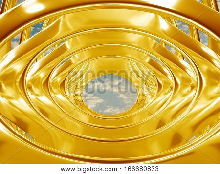 3d illustration of metal gold abstract bionic futuristic structure on black background