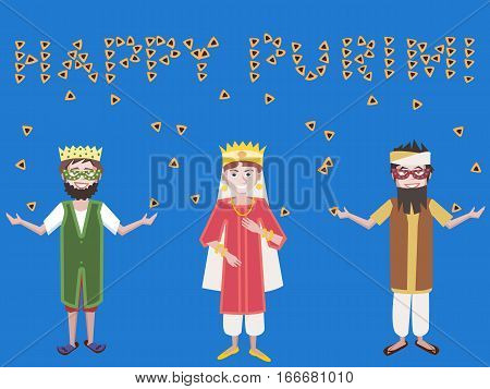 purim greetings, kids with a vector cartoon illustration
