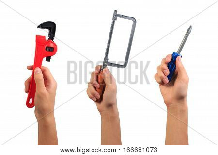 Engineer Tool Toy Concept. Boy Hand Holding Wrench, Fret Saw And Screwdriver Toy Tool Isolated On Wh
