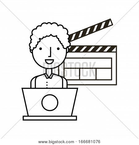 man with a laptop computer and clapboard icon over white background. vector illustration