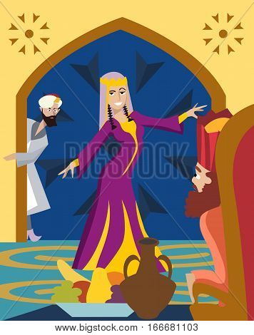 purim greeting card, The Feast of Esther funny cartoon illustration