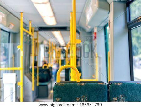 Interior of empty modern european city bus in Sweden