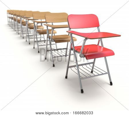 Row of wooden student chair with desk and armrest on white floor - 3D illustration