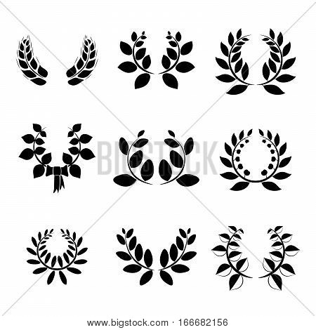 Set of little black and white silhouette circular laurel foliate and wheat wreaths icons
