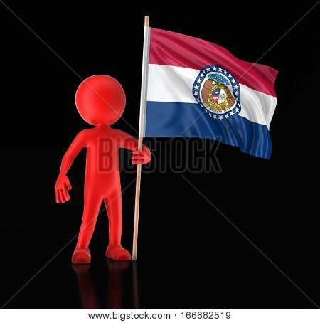 3D Illustration. Man and flag of the US state of Missouri. Image with clipping path