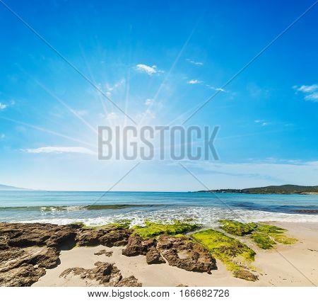 a shining over Le Bombarde beach Sardinia