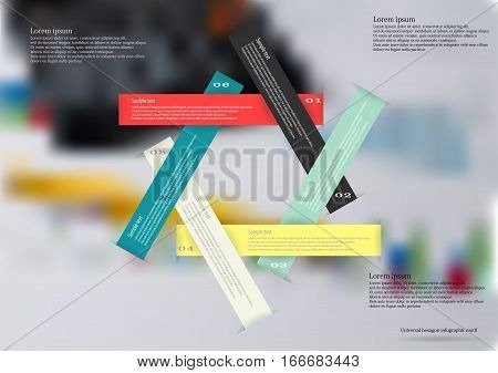 Illustration infographic template with motif of six color ribbons with sample text and simple sign. Blurred photo with financial motif with charts and calculator is used as background.