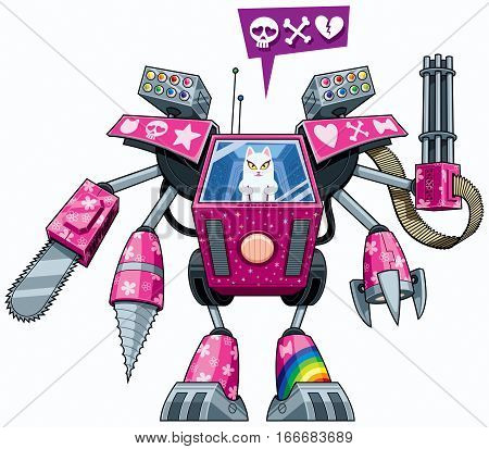 White pussycat operating pink robot in full battle gear.