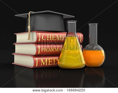 3D Illustration. Stack of textbooks and flasks. Image with clipping path
