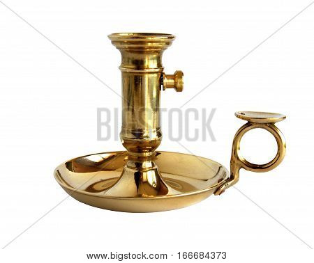 Vintage brass candlestick isolated on white background