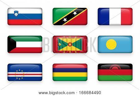 Set of world flags rectangle buttons ( Slovenia . Saint Kitts and Nevis . France . Kuwait . Grenada . Palau . Cape Verde . Mauritius . Malawi )