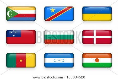 Set of world flags rectangle buttons ( Comoros . Democratic Republic of the Congo . Ukraine . Samoa Bulgaria . Denmark . Cameroon . Honduras . Niger )
