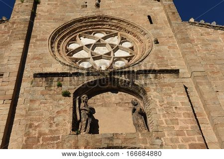 Romanesque facade of the Old Cathedral (aka St Mary's church) Plasencia. Caceres province Extremadura Spain