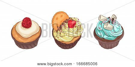 Decorative vector illustration and handwritten brush lettering for your design. Different tasty desserts with berries, cream and sweet decor on white background.