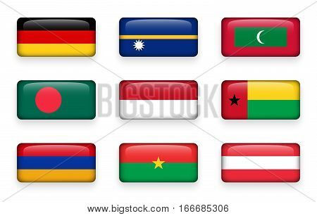 Set of world flags rectangle buttons ( Germany . Nauru . Maldives . Bangladesh . Indonesia . Guinea-Bissau . Armenia . Burkina Faso . Austria )