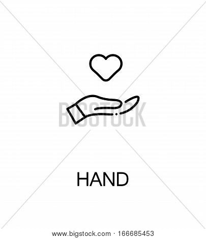 Hand with heart icon. Single high quality outline symbol for web design or mobile app. Thin line sign for design logo. Black outline pictogram on white background