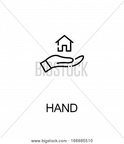 Hand with house icon. Single high quality outline symbol for web design or mobile app. Thin line sign for design logo. Black outline pictogram on white background