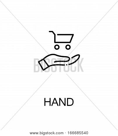 Hand with trolly icon. Single high quality outline symbol for web design or mobile app. Thin line sign for design logo. Black outline pictogram on white background