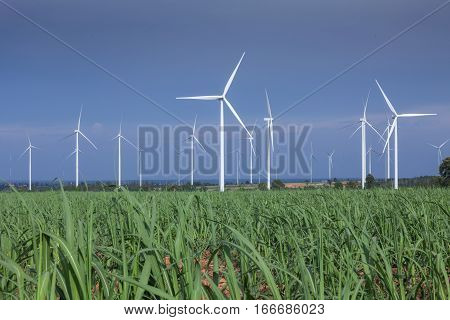 wind turbines development in the blue sky