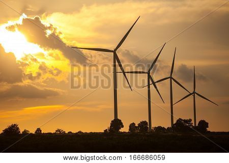 Close up of wind development turbines in Thailand