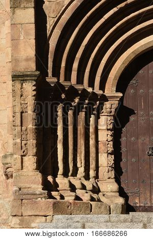 Romanesque door of the Old Cathedral (aka St Mary's church) Plasencia. Caceres province Extremadura Spain