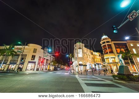 famous Rodeo Drive by night in California