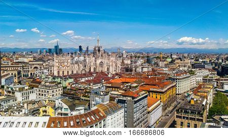 Hdr Aerial View Of Milan, Italy