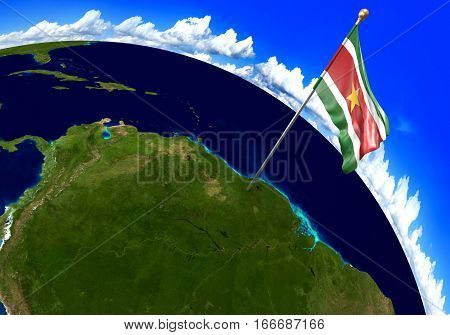 Suriname national flag marking the country location on world map. 3D rendering, parts of this image furnished by NASA