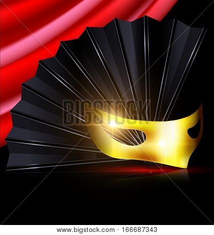 dark background, red drape and the black fan with golden yellow half-mask