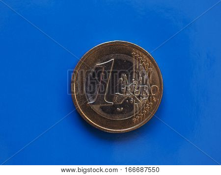 1 Euro Coin, European Union Over Blue