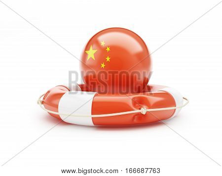 lifeline with Chinese flag 3D illustration on a white background