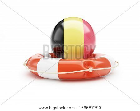 Lifebelt with German flag 3D illustration on a white background