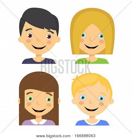 Kids avatar flat cartoon children people happy boy girl design vector stock