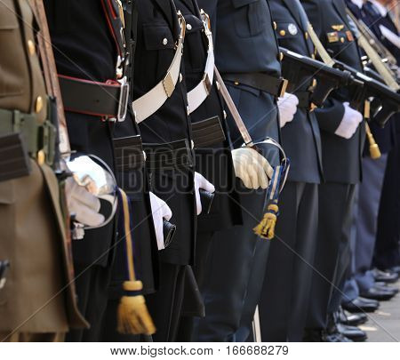 Italian Armed Forces With Many Agents In High Parade Uniform Dur
