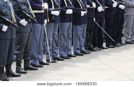 Italian Police Officers In Uniform During The Parade For The Cel